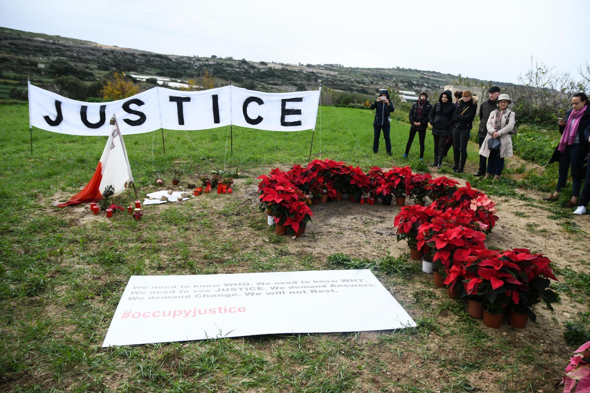 Vigil calling for justice for Daphne Caruana Galizia at the site of her murder in Bidnija.