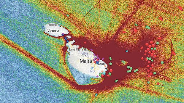 An image showing (in red) the intensity of maritime traffic around the Maltese islands.