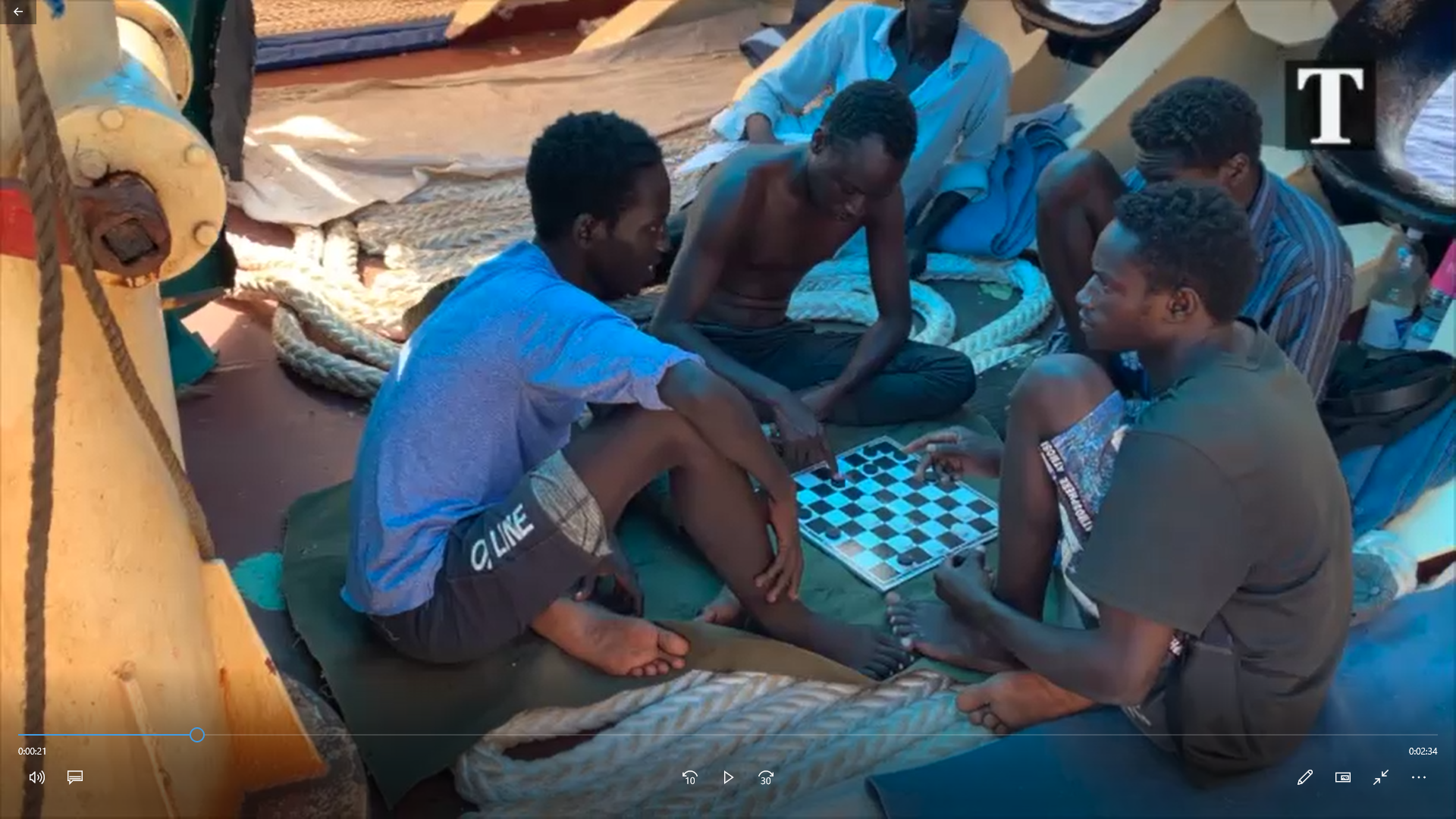 Migrants playing a game of checkers aboard the Etienne.