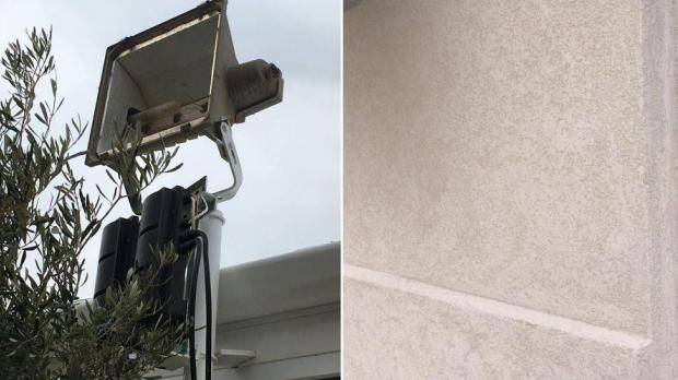 Co-owner Marvin Schembri said broken bastion lights (left) exacerbated the restaurant's brightness and said the structure had been finished using stone paint (right).