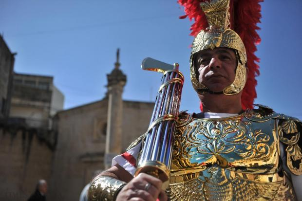 A man in Roman period costume takes part in the Palm Sunday procession in Balzan on March 29. Photo: Jason Borg