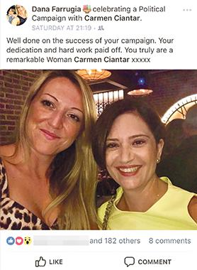 Dana Farrugia, personal assistant to Minister Chris Cardona, congratulating Carmen Ciantar (right) on 'her' campaign to elect Chris Fearne.