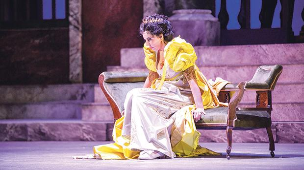 Tosca in mustard? Amarilli Nizza gives an emotional rendition of Vissi d'arte, dressed in what has become Luke Azzopardi's signature frock.