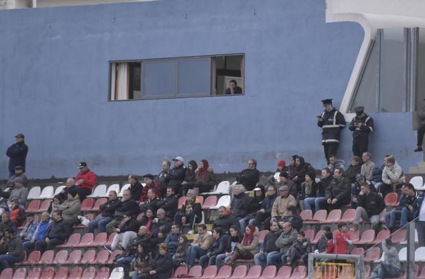 Hamrun Spartans' temporary coach Jonathan Holland watches from a balcony while serving a one-match suspension as his team play against Tarxien Rainbows at Tedesco Stadium in Hamrun on December 18. Photo: Mark Zammit Cordina