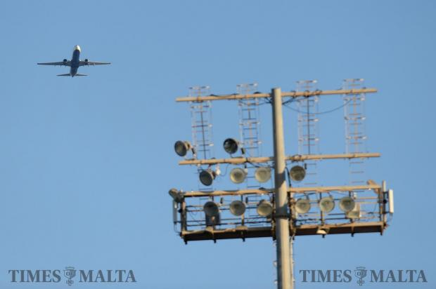 A Ryan Air plane flies over the Centenary Stadium in Ta'Qali on October 14. Photo: Matthew Mirabelli