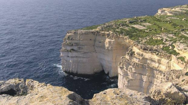 The majestic high cliffs at Ta' Ċenċ, limits of Sannat, which in the past was a nesting place of the peregrine falcon.