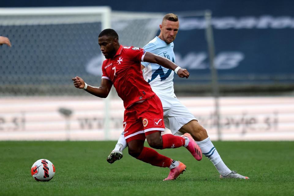 Joseph Mbong charges forward for Malta against Slovenia. Photo: Domenic Aquilina