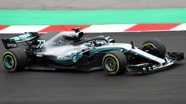 Valtteri Bottas driving his Mercedes at the Circuit de Catalunya.