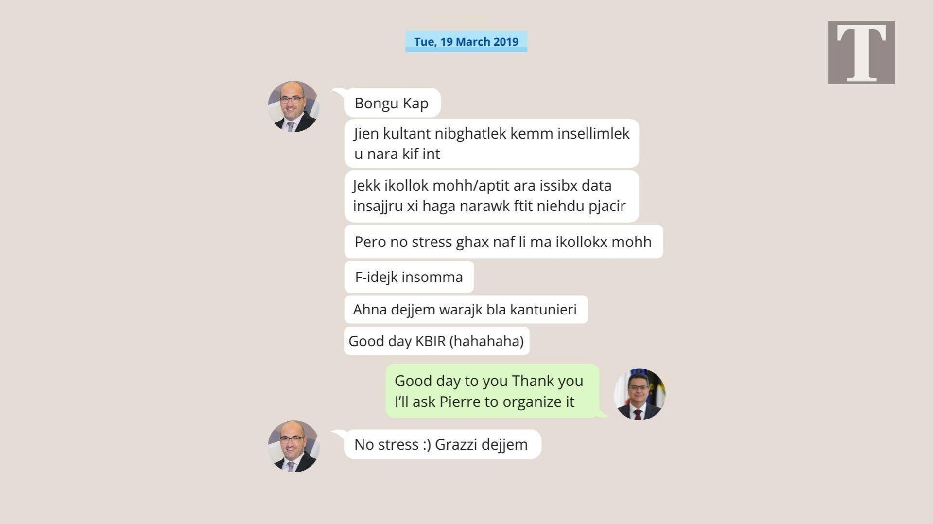 A mock-up of of the March 2019 messages exchanged between Fenech and Delia.