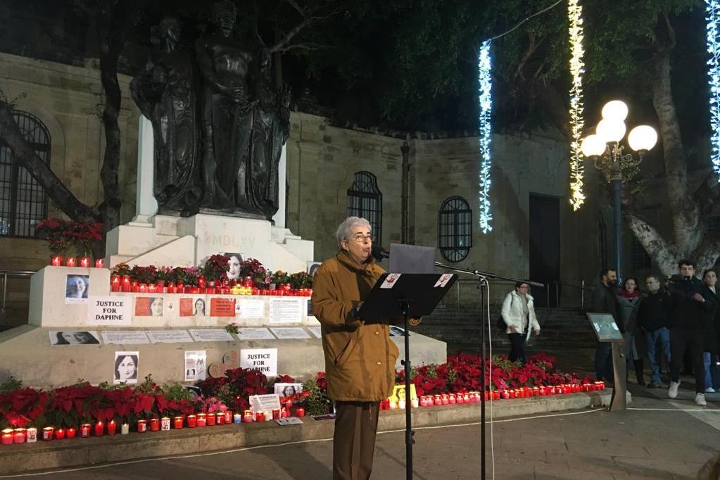 Prof Cremona speaking at the vigil.