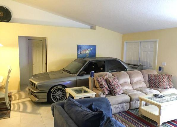 Man parked car in home to protect it from hurricane