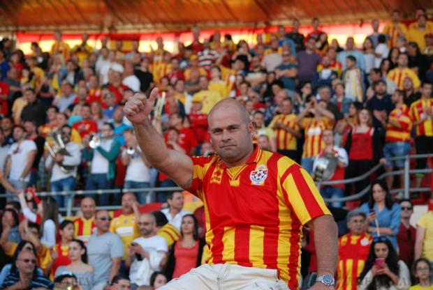 A Birkirkara supporter gives the thumbs-up moments before the final whistle of the FA Trophy final between Birkirkara and league champions Hibernians at the National Stadium in Ta' Qali on May 23. Photo: Mark Zammit Cordina