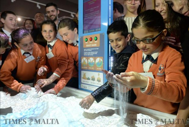 School children play with one of the exhibts at the new Water Conservation Centre in Rabat on April 21. Photo: Matthew Mirabelli