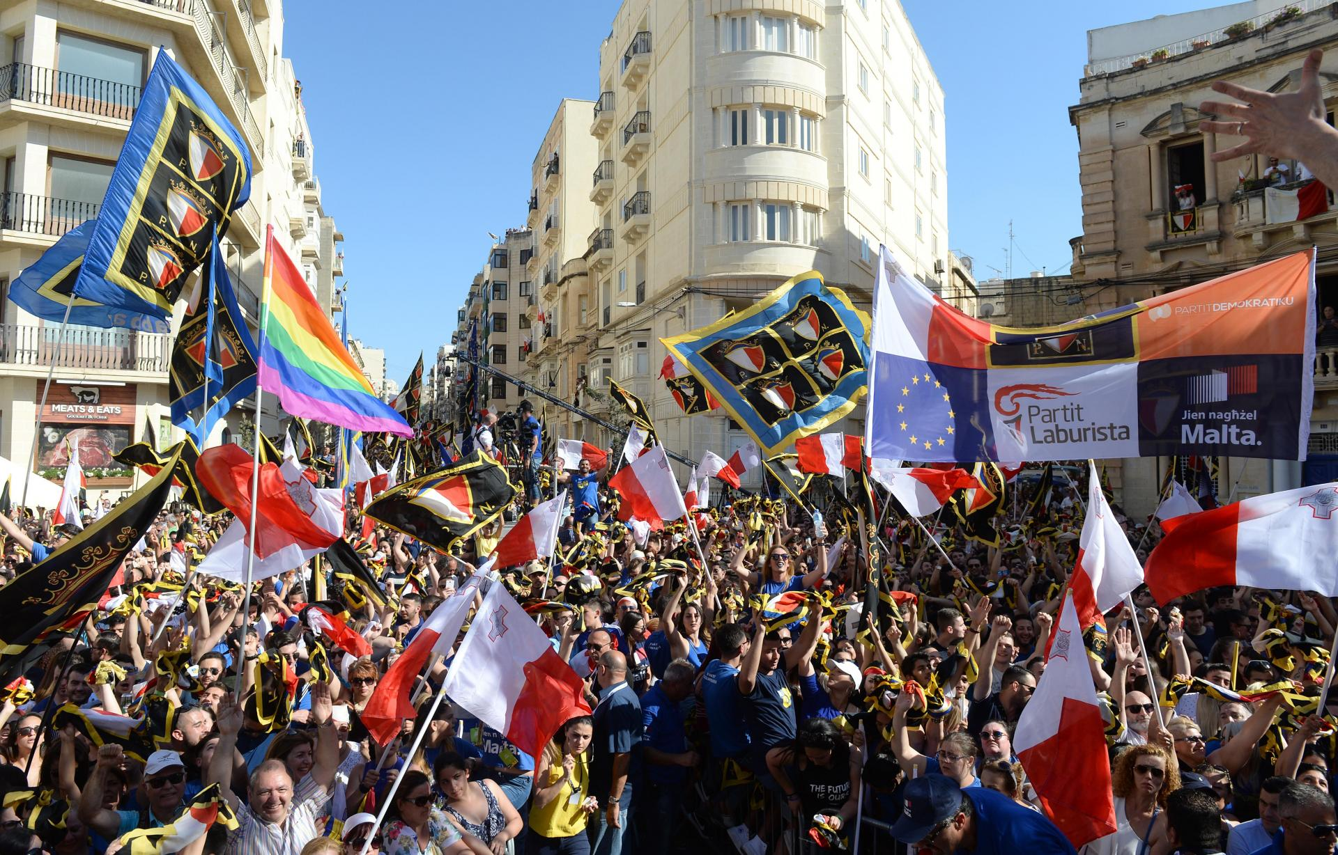 Nationalist voters at a 2017 rally in Sliema. Photo: Matthew Mirabelli