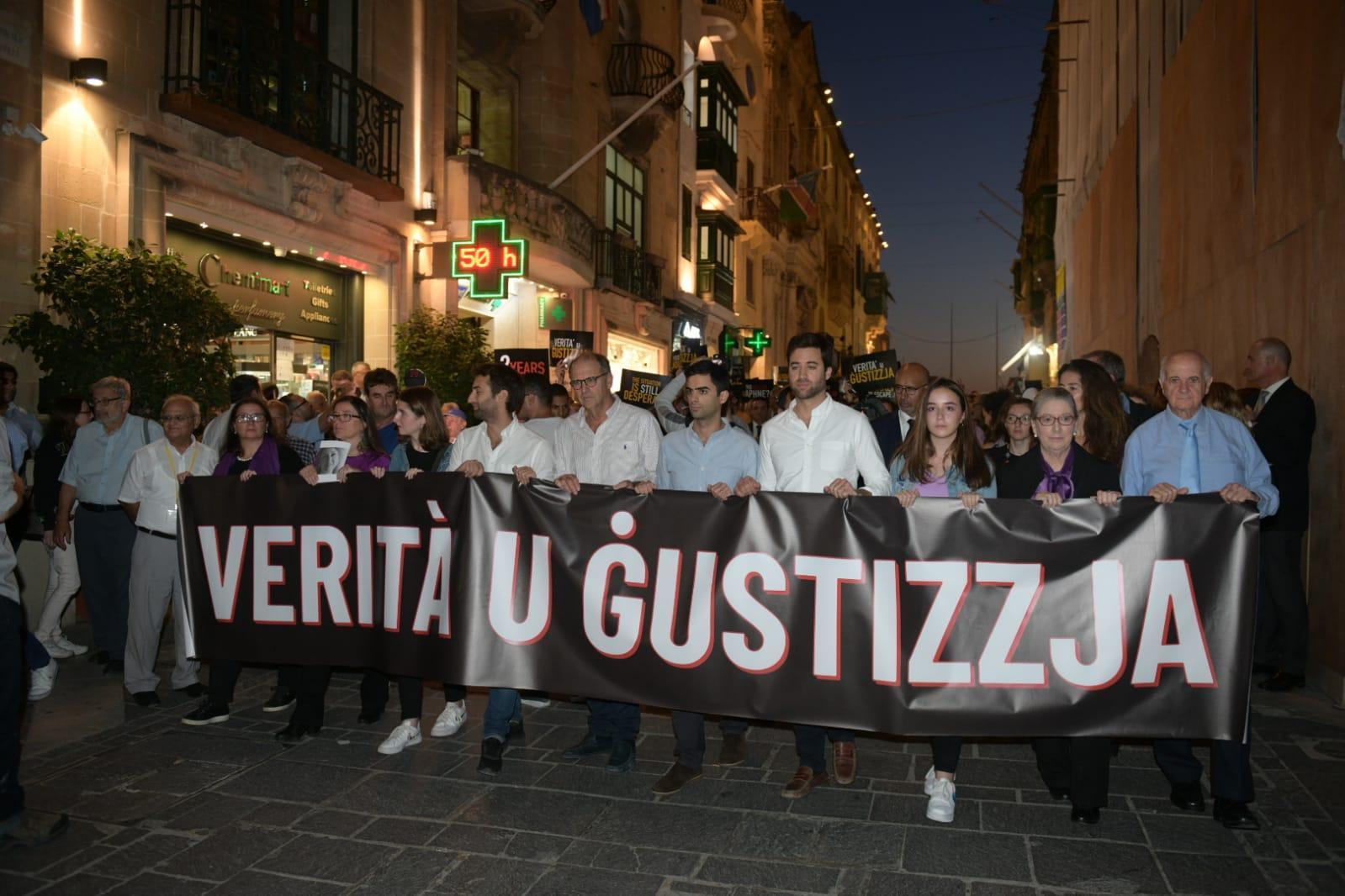 Caruana Galizia family lead hundreds in Valletta vigil