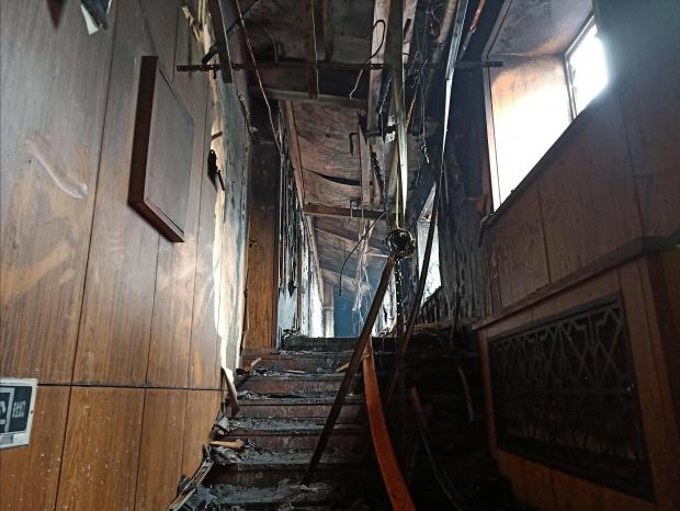 Interior of a hot springs hotel which caught fire early in the morning is pictured in Harbin.