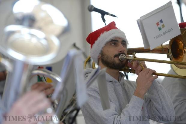Members of Tikka band play Christmas carols in the town square in Gharghur on December 18. Photo: Matthew Mirabelli