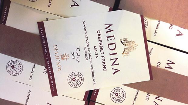 Labels for the poised 'superior' 2017 Medina Cabernet Franc.