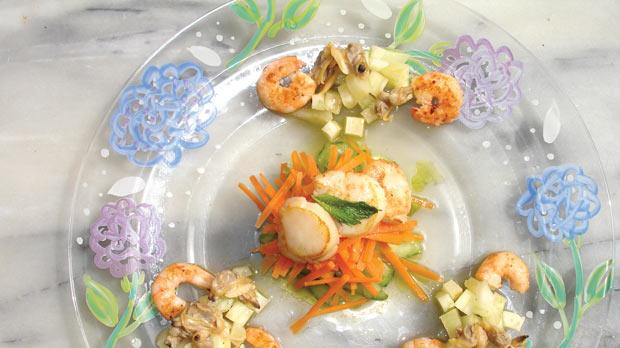 Shellfish salad fit for a smart Chardonnay. Photos: Tom Bissell