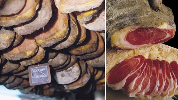 Air-drying prosciutti crudi, hanging for sale. Right: Freshly-cut slices of succulent Tuscan prosciutto crudo. Photos: Antica Macelleria Falorni, Greve in Chianti