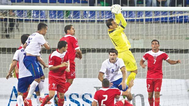 Malta keeper Justin Haber intercepts a cross inside his box. Photo: Paul Zammit Cutajar