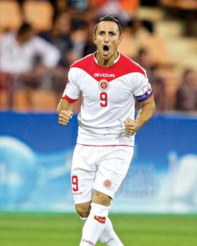 Malta striker Michael Mifsud reacts after scoring the only goal in the World Cup qualifier against Armenia in Yerevan last night – the second time the national team have won a match at that level away from home. Photo: Paul Zammit Cutajar