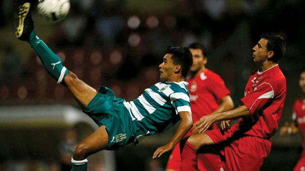 Floriana's John Mintoff tries an overhead kick against Mqabba at the Hibs Stadium. Photo: Darrin Zammit Lupi