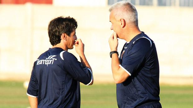 Former Malta national coach John Buttigieg (right) and assistant Carmel Busuttil. Photo: Domenic Aquilina