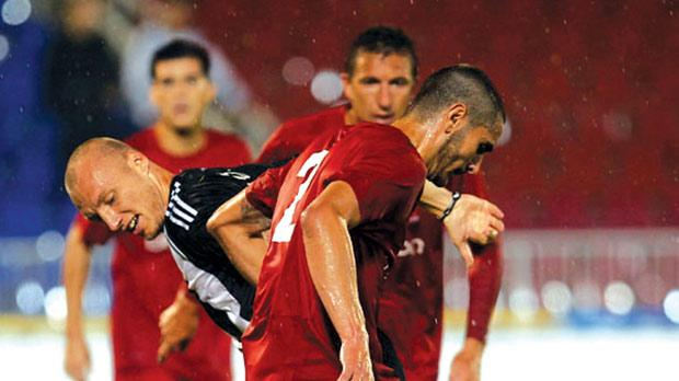 Valletta's Jonathan Caruana dispossesses Partizan defender Ivan Ivanov during Tuesday's match in Belgrade. Photo: www.partizan.rs