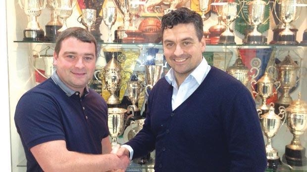 All smiles... New Floriana coach Iain Brunskill (right) with club president Steve Vaughan Jr.