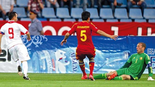 Michael Mifsud's first shot stopped but the Armenia keeper was beaten from the rebound. Photo: Paul Zammit Cutajar