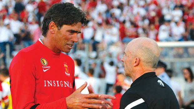 Andrè Paus (left) talks to Mark Miller after Valletta beat Sliema Wanderers in the U*Bet FA Trophy final. Photo: Darrin Zammit Lupi