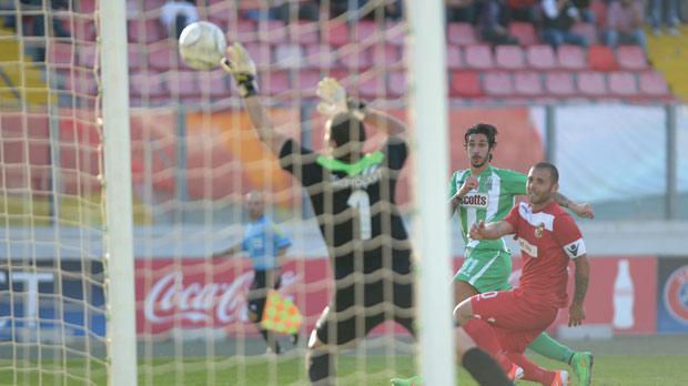 Matteo Piciollo scoresFloriana's fourth goal against Naxxar Lions. Photo:Matthew Mirabelli