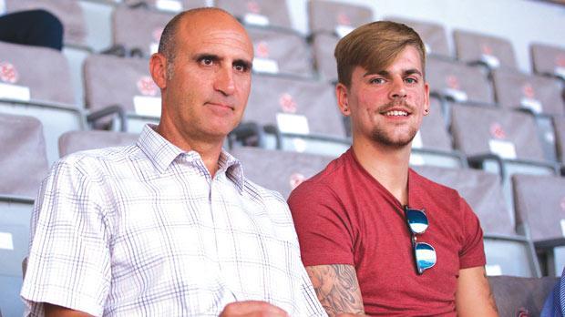 Sam Magri (right) with Malta U-21 coach Silvio Vella before the Super Cup match at the NationalStadium on Wednesday. Photo: PaulZammit Cutajar