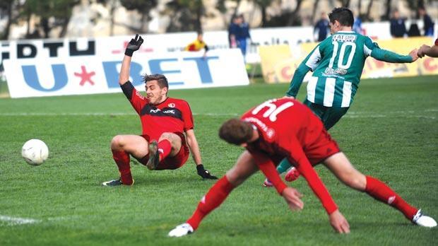 Igor Coronado (right) scoring Floriana's second goal yesterday. Photo: Chris Sant Fournier