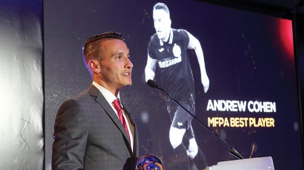 Andrew Cohen after receiving the 2014/15 MFPA best player award. Photo: Domenic Aquilina