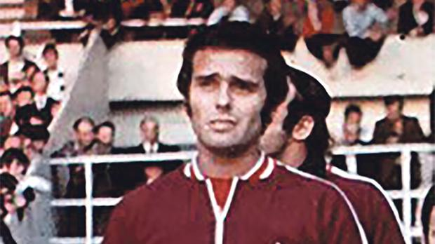 Ronnie Cocks leads the national team at Wembley Stadium for the European Championship qualifier against England in May 1971.