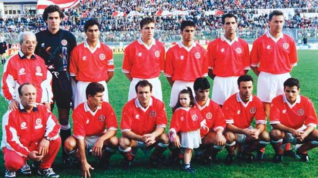 The Malta and Italy line-ups for the 1994 World Cup qualifier at Ta' Qali. Photos: Domenic Aquilina
