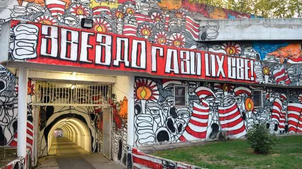 The tunnel to Red Star's football stadium in Belgrade.