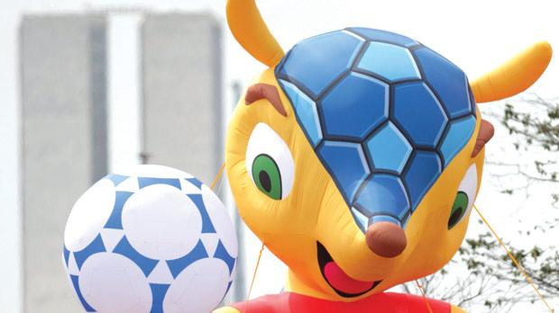 An inflated official mascot of the 2014 World Cup in Brazil.