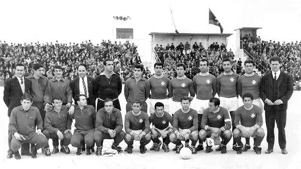 The Malta squad before the home game against Libya in 1966.