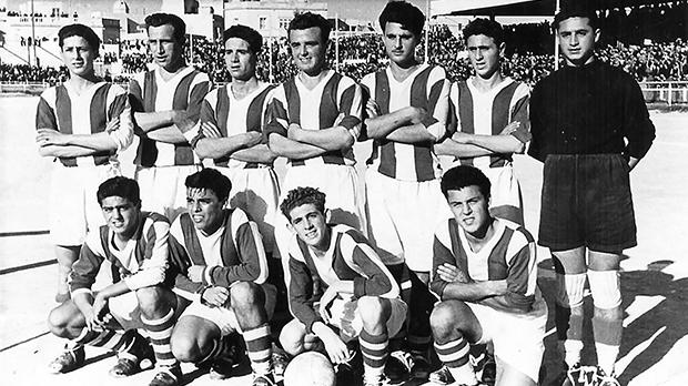 A typical Floriana FC formation in season 1950-51. (Back row, left to right) Victor Farrugia, Leli Zammit, Joseph Grech, Lolly Debattista, Tony Dalli, Lolly Borg, Frankie Busuttil. (Front) Charlie Azzopardi, Tony Vella, Pullu Demanuele, Benny Camilleri.