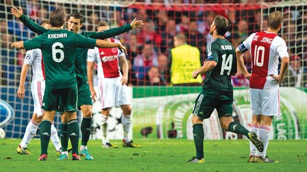 Cristiano Ronaldo reacts after scoring his second goal against Ajax in midweek.