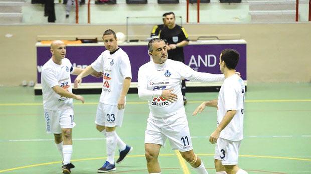 Sliema Wanderers celebrate one of their goals against Qrendi. Photo: Joe Borg