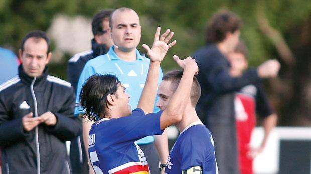 Tarxien's Daniel Mariano Bueno (left) celebrates his goal with Manuel Caruana. Photo: Darrin Zammit Lupi