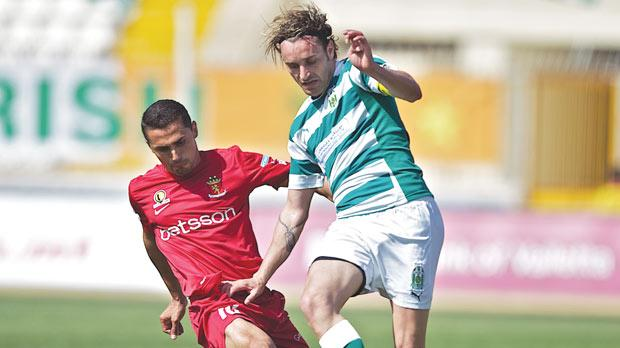 Valletta's Roderick Briffa (left) in a challenge on Floriana's Manolito Micallef during one of last season's derbies.