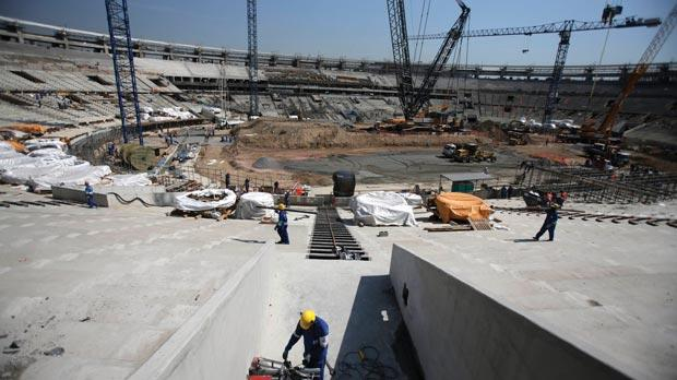 Renovation works underway at the Maracana stadium for the 2014 World Cup in Brazil.