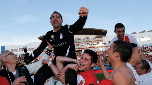 Gilbert Agius lifted shoulder high by the Valletta fans.