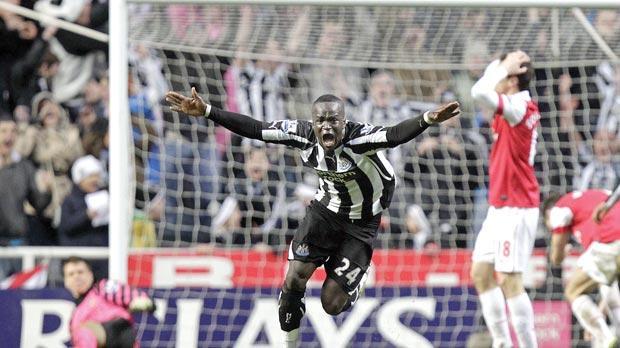Newcastle United midfielder Cheik Tiote celebrates his goal in the 4-4 draw  with Arsenal 5209e0ea99