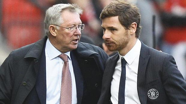 Manchester United manager Alex Ferguson (left) and Andre VillasBoas, his Chelsea counterpart, at Old Trafford on Sunday.